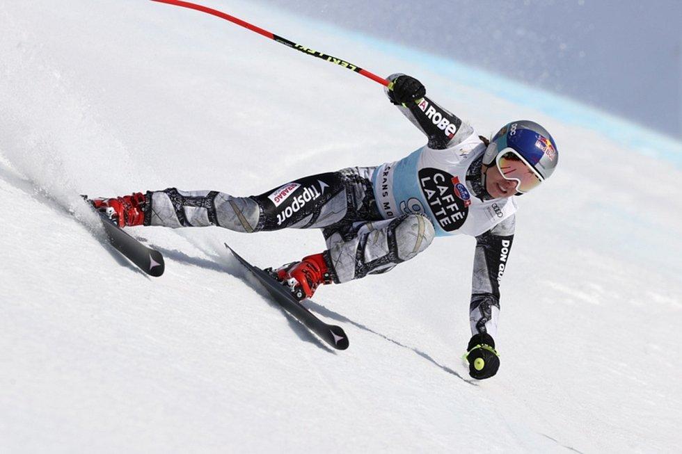 Česká lyžařka Ester Ledecká na trati sjezdu SP v Crans Montaně