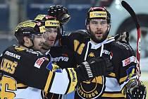 Takhle se litvínovští hokejisté radovali z prvního gólu zápasu.