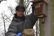 Martin Rezek při čištění ptačí budky