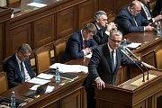 Hlasování o nedůvěře vládě Andreje Babiše 23.  listopadu v Praze. Miroslav Kalousek