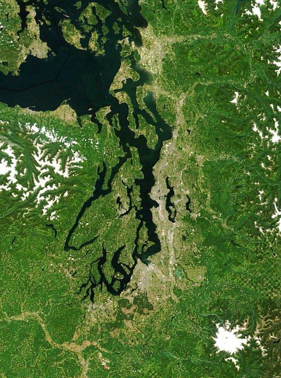 Satelitní snímek Pugetova zálivu