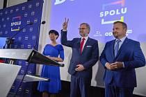 Lídři kolalice Spolu zleva: Markéta Pekarová Adamová, Petr Fiala, Marian Jurečka.