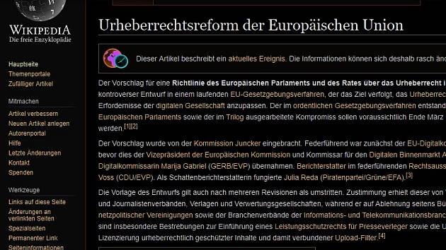 Německá Wikipedie se na protest proti evropské směrnici o autorském právu vypne.