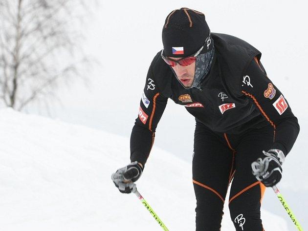 Martin Koukal při tréninku na trati mistrovství světa ve Vesci.