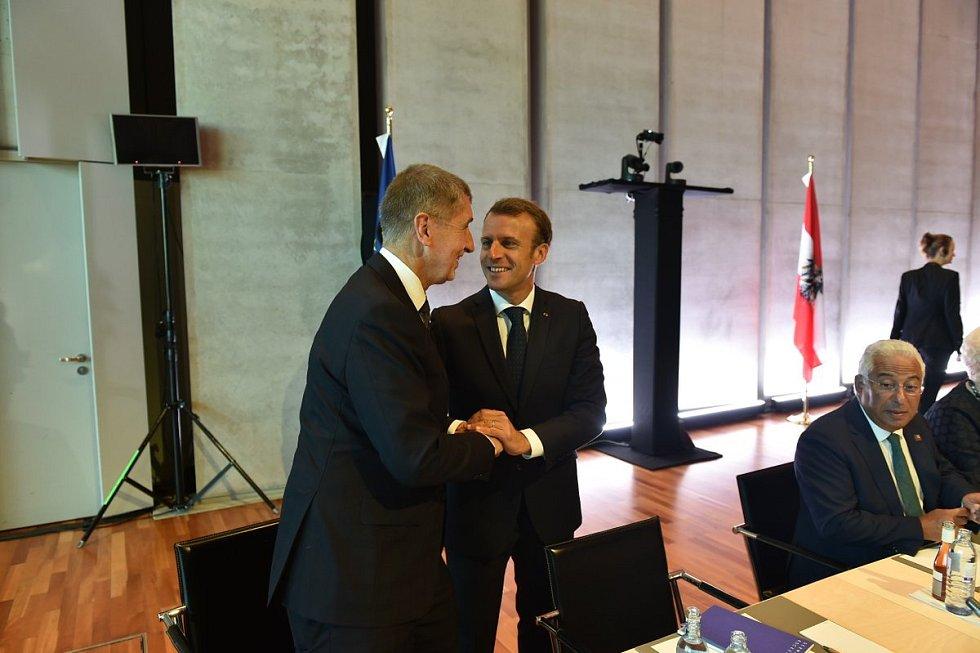 Andrej Babiš a Emmanuel Macron v Salcburku