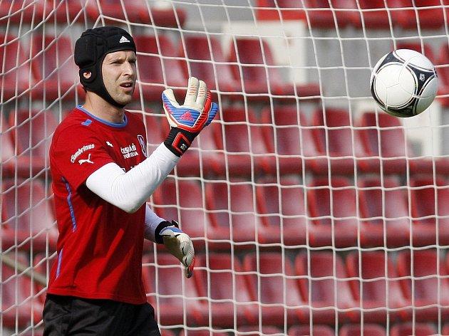 Petr Čech při tréninku české reprezentace.