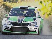 Rallye Hustopeče 2016. Posádka Jan Kopecký se spolujezdcem Pavlem Dreslerem ve voze Škoda Fabia R5.