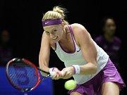 Petra Kvitová v semifinále Turnaje mistryň proti Marii Šarapovové.