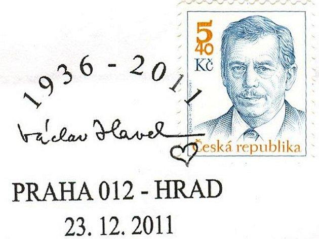 Česká pošta přichystala na den pohřbu exprezidenta Václava Havla příležitostné razítko. Na razítku je letopočet narození a úmrtí a jeho podpis se srdíčkem.