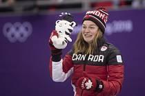 Kim Boutinová po zisku bronzové medaile na olympiádě v Pchjongčchangu.