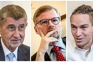 Andrej Babiš (ANO), Petr Fiala (ODS) a Ivan Bartoš (Piráti)