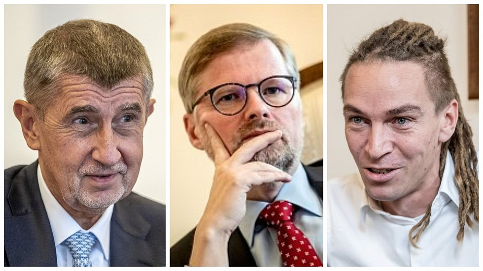Ander Babiš (ANO), Petr Fiala (ODS) a Ivan Bartoš (Piráti)