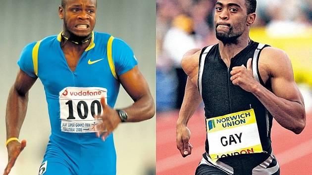 Na titul nejrychlejšího muže planety aspirují hlavně Asafa Powell z Jamajky (vlevo) a Američan Tyson Gay.