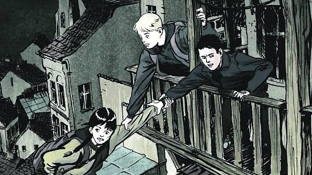 Prašina. Hrdinové Jirka, Tonda a En čelí při svém dobrodružství mnoha nebezpečím.