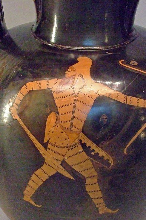 Antická amfora s vyobrazením skytského válečníka, pocházející z Athén z doby 480 až 470 let před naším letopočtem