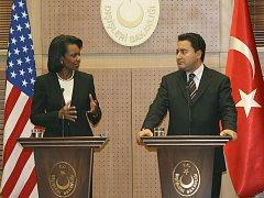 Americká ministryně zahraničí Condoleezza Riceová se svým tureckým protějškem Ali Babacanem.