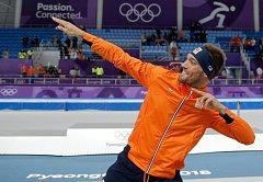Rychlobruslař Kjeld Nuis na olympijských hrách v Pchjongčchangu.