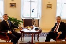 Prezident Miloš Zeman přijal na Hradě českého premiéra Andreje Babiše