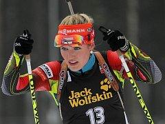 Biatlonistka Gabriela Soukalová v hromadném závodě na MS v Novém Městě na Moravě.