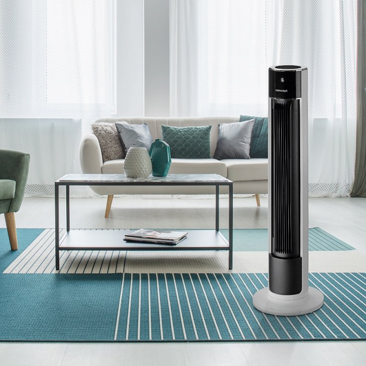 Ochlazovač vzduchu Concept OV5210 má 4 rychlosti proudění vzduchu, 3 provozní režimy – normální, přirozený, noční, volitelnou oscilaci a časovač, který lze nastavit v rozmezí 30 minut až 10 hodin.