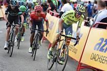 Alberto Contador (vpravo), Chris Froome (vlevo) a Nairo Quintana na Vueltě.