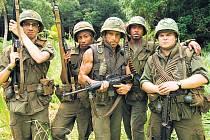 Akční hvězda Tugg Speedman (Ben Stiller – uprostřed), sběratel hereckých Oscarů Kirk Lazarus (Robert Downey Jr. – vpravo) a sprostý raper Alpa Chino (Brandon T. Jackson) se spojili, aby natočili ten nejlepší válečný film všech dob.