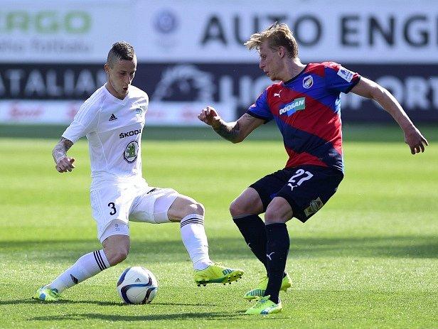 Semifinále poháru mezi Mladou Boleslaví a Plzní: Jiří Fleišman (vlevo) a František Rajtoral