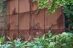 Atrium městského domu s magnolií.