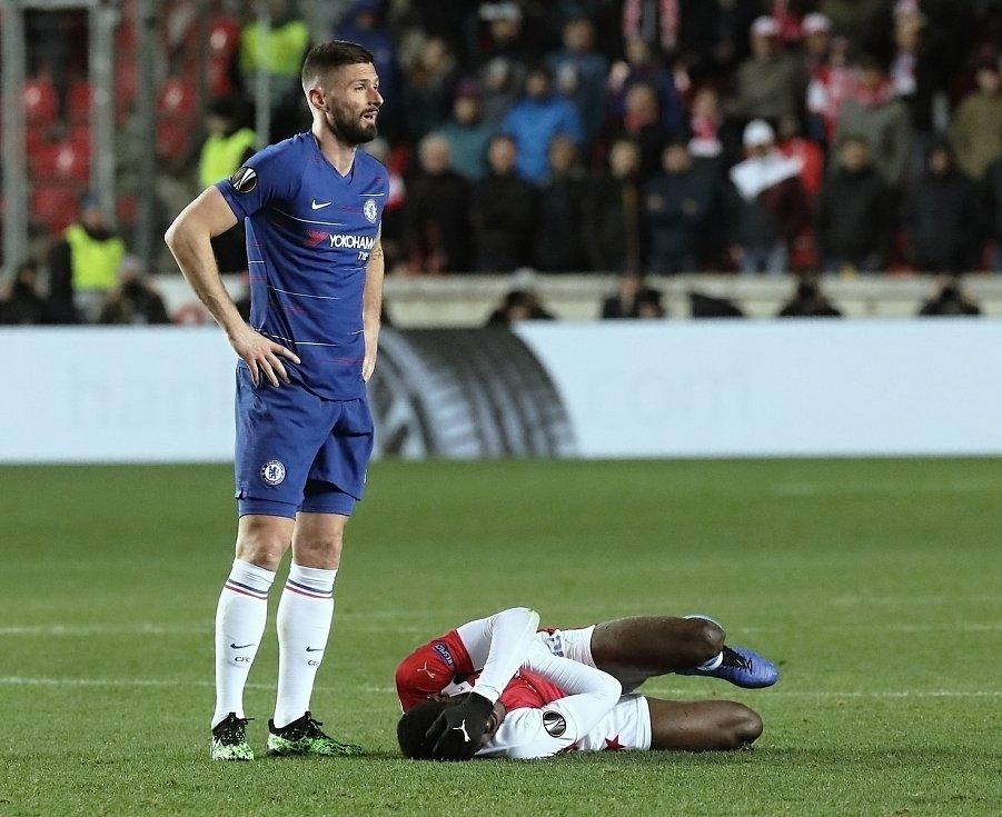 Evropská fotbalová liga SK Slavia Praha - Chelsea FC v Edenu. Olivier Giroud.
