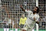 Real Madrid – FC Viktoria Plzeň. Marcelo slaví branku.