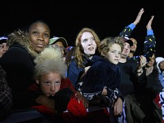 Příznivci Baracka Obamy shromáždění v Manassasu ve Virgínii.