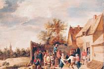 Obraz Thomase van Apshovena: Vesničané tančící před hospodou