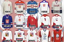 České (resp. československé) reprezentační hokejové dresy v průběhu historie