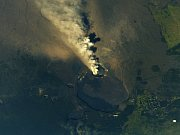 Erupce havajské sopky Kilauea z Mezinárodní vesmírné stanice