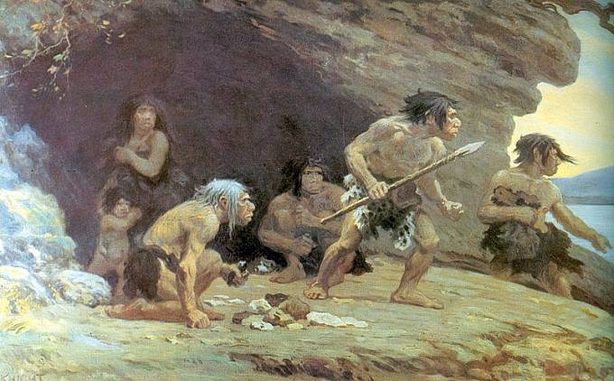 Kresba neandertálců od Charlese R. Knighta
