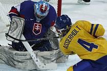 Švédská hráčka Jenni Asserholtová (4) střílí vítěznou branku v utkání se Slovenskem. Jinak vynikající brankářka Zuzana Tomčíkova byla na tuto střelu krátká.