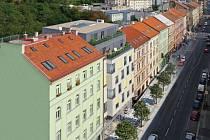 Slovenská developerská a architektonická společnost Archikód chce v proluce v žižkovské Koněvově ulici postavit osmipodlažní dům s byty a prodejnami (na vizualizaci druhý dům zleva). Druhý třípodlažní dům vyroste ve dvoře směrem k parku Vítkov.