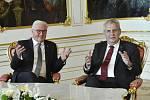 Německý prezident Frank-Walter Steinmeier poprvé navštívil Česko. Setkal se se svým protějškem Milošem Zemanem.