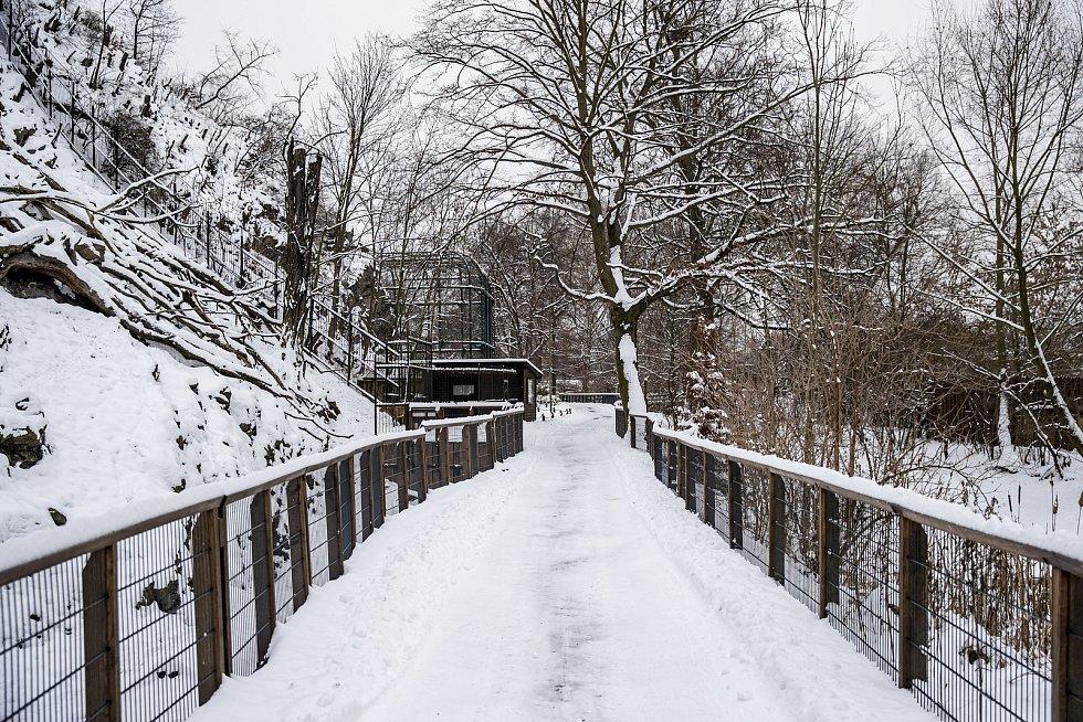 Na místa, kde návštěvníci běžně chodili, dnes padá jen sníh.
