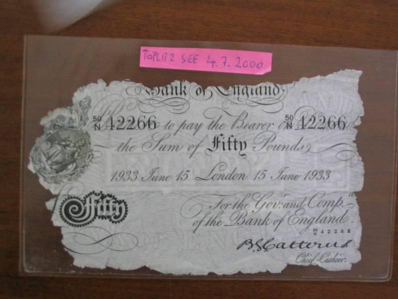Originál padělané bankovky vylovené z Toplitzkého jezera.