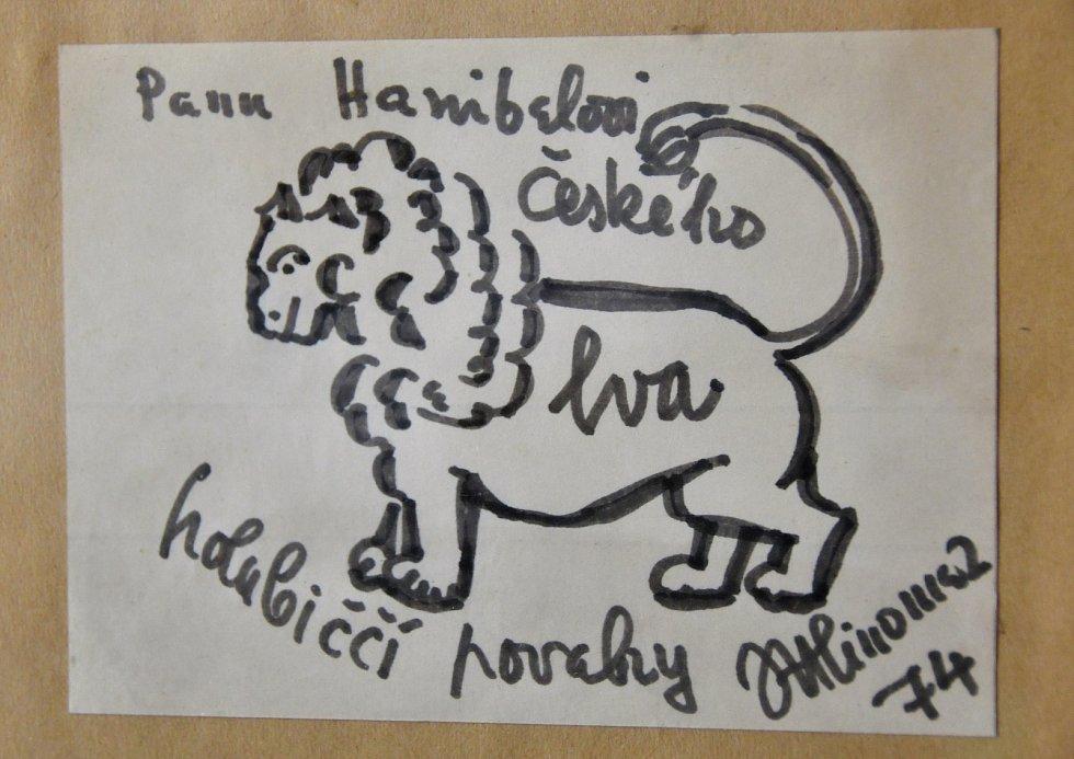 Autogram s kresbou herce od Josefa Hlínomaze.