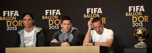 Cristiano Ronaldo, Lionel Messi a Franck Ribéry na tiskové konferenci