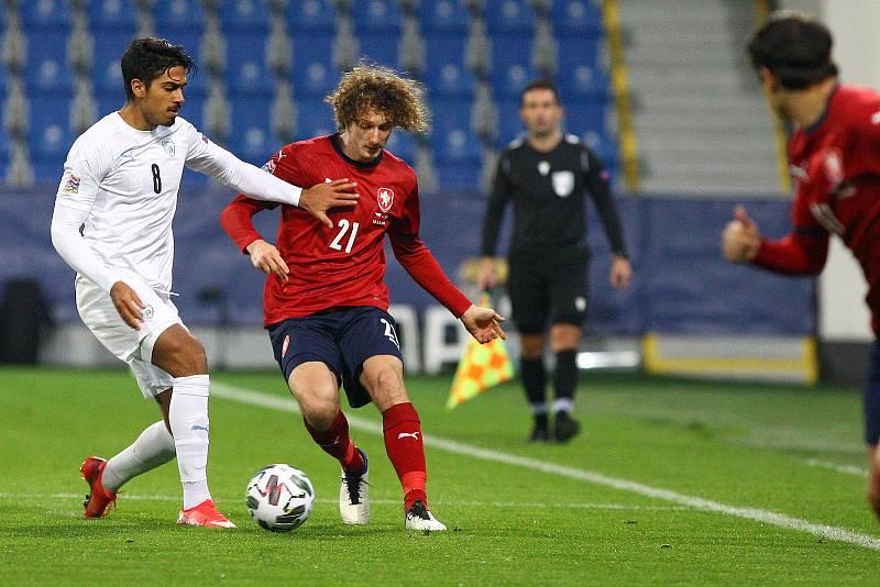 Liga národů UEFA Česká republika proti Izraeli. Vpravo Alex Král