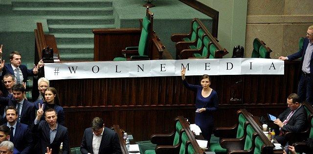 Protest opozice v Sejmu