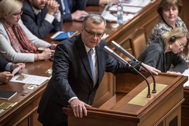 Jednání o důvěře vlády v Poslanecké sněmovně 16. ledna v Praze. Kalousek