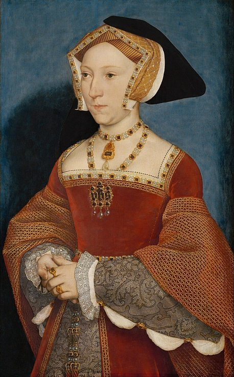 Jane Seymourová se stala třetí manželkou Jindřicha VIII. Zemřela při porodu. Autorem malby je Hans Holbein mladší.
