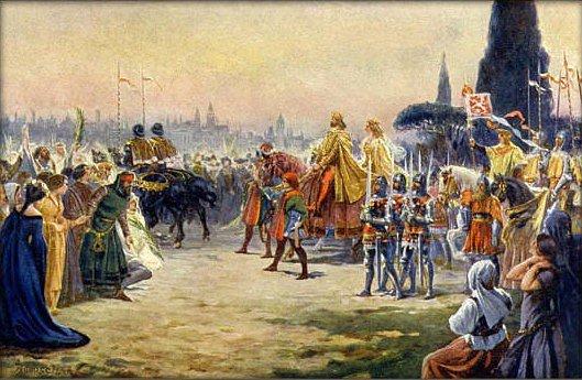 Adolf Liebscher: Karel IV. s Annou Svídnickou vjíždí roku 1355 slavnostně do Říma