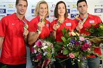 Čeští hrdinové z ME v atletice (zleva). Stříbrný Vítězslav Veselý, zlatá Barbora Špotáková a bronzoví Anežka Drahotová a Jan Kudlička.