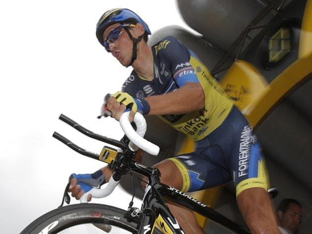Roman Kreuziger na startu horské časovky na Tour de France.