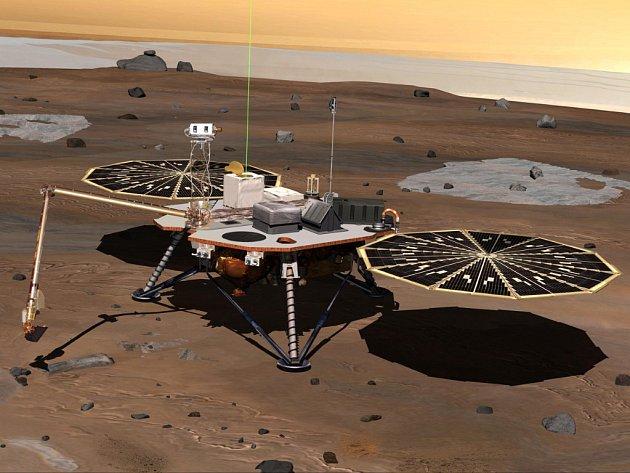 Počítačový model sondy Phoenix na Marsu.